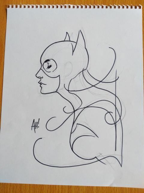 11 X 14 Adam Hughes Signed Jsa Jla Original Dc Comic Art Sketch Batgirl