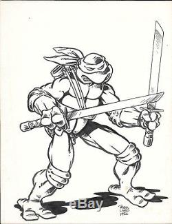 1986 TMNT Full Body Leonardo Ninja Turtles Original Comic Art by Peter Laird