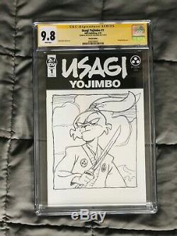 9.8 CGC ss STAN SAKAI Original Art USAGI YOJIMBO # 1 Sketch variant SIGNED tmnt