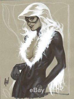 ADAM HUGHES Original Art Commission! BLACK CAT Greatly Detailed piece