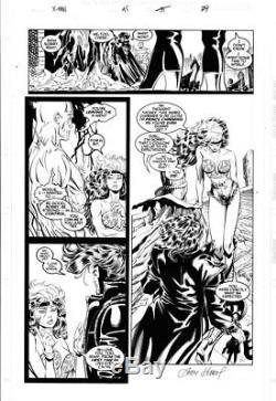 ANDY KUBERT X-Men #45 pg 29, full Rogue with cutoffs & bustier + Gambit Iceman