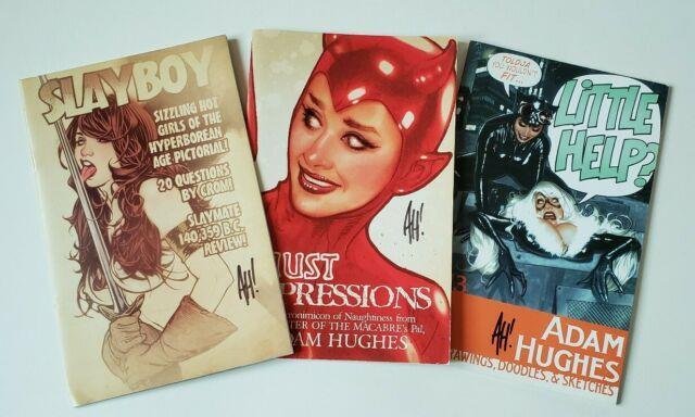 Adam Hughes Lot Of 3 Slayboy Little Help Faust Sketchbook, 2010, Rare, Signed