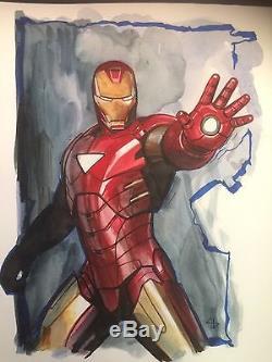 Adi Granov Original Art 11 X 14 Iron Man Avengers
