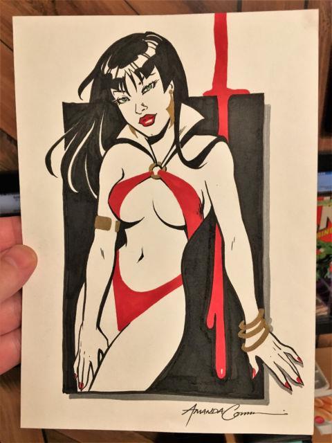 Amanda Conner Sketch Original Vampirella Art 7x9 Original Comic Art