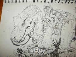 Arthur Adams Sexy Woman Riding Dinosaur Ink Sketch Art 8 x12 April 2001 Signed