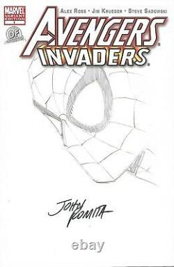 Avengers Invaders #1 DF BLANK signed ORIGINAL SPIDER-MAN SKETCH John Romita Sr