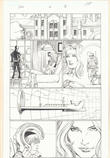 Avengers Vs. X-men #4 P. 8 Cyclops And Emma Frost White Art By John Romita Jr