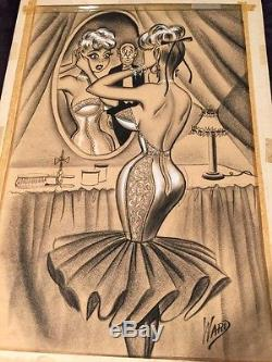 BILL WARD Conte SIGNED ORIGINAL Crayon ARTWORK illustration Large Size 1950s