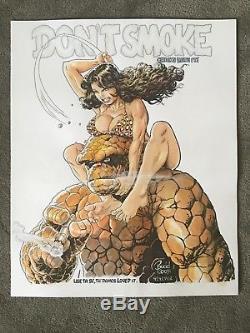 BUDD ROOT Sketchbook Pin-Up ORIGINAL ART Fantastic Four CAVEWOMAN No Smoking