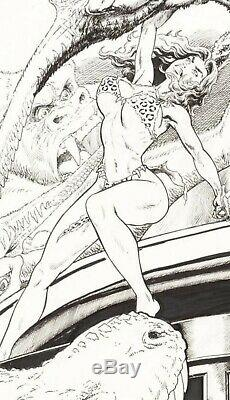 BUDD ROOT original art CAVEWOMAN Pangaean Sea. Published. Pretty lady, dinosaurs