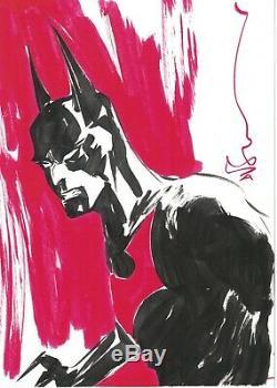 Batman Beyond original art sketch commission by Dustin Nguyen 5x7