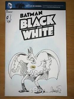 Batman Black And White Blank Cover Sketch 2014 Sergio Aragones (not CGC)