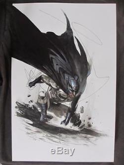 Batman Illustration Original Art DC 2009 Gabriele Dell'Otto Ink & Watercolor