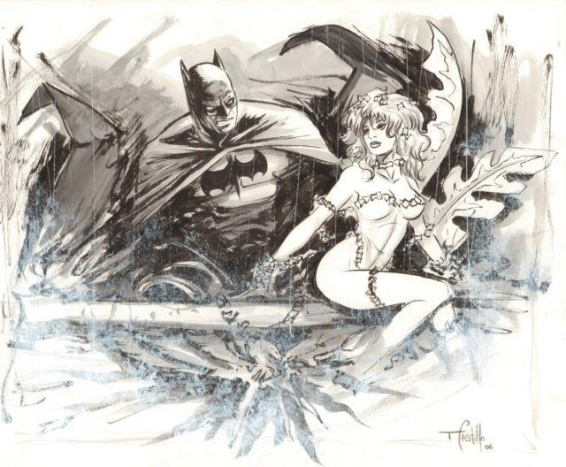 Batman And Poison Ivy Commission Signed Art By Tommy Castillo