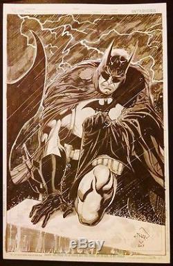 Batman in the Rain Commission Cover Splash Page Original Art Ethan Van Sciver