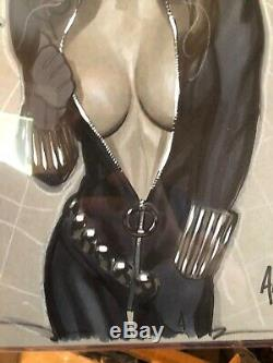 Black Widow undressing 9 x 12 original art sketch by Adam Hughes Wowzers