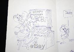 Bob Bishop Estate Hand Drawn Bishop Birthday Card by CARL BARKS! UNCLE SCROOGE
