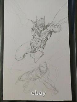 Brett Booth DC Original Art Robin Damian Batman Commission Double Sketch Signed
