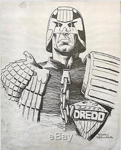 Brian Bolland Original Art Signed, Judge Dredd, 2000 Ad
