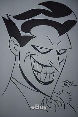 Bruce Timm, original comic art, Joker sketch, Batman, marker on paper, Harley Queen