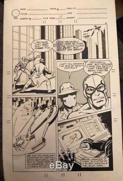 CHARLTON BULLSEYE #1 pg 7 ORIGINAL DAN REED COMIC ART PAGE! BLUE BEETLE QUESTION