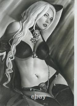 COFFIN Comics LADY DEATH Original Art Pinup Horror Vampires Demons SEX Pulido