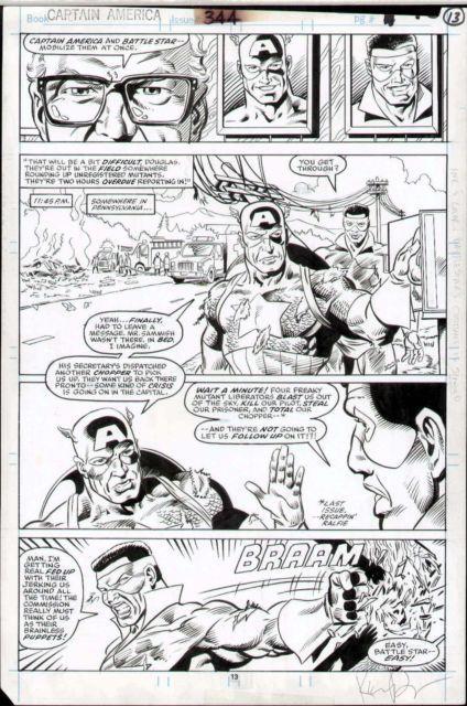Captain America #344 Original Comic Art Page Marvel Comics Kieron Dwyer Milgrom