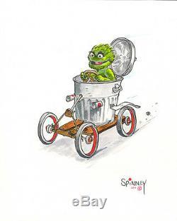Caroll Spinney 8 x 10 ORIGINAL ART Oscar The Grouch Trash Can Car RARE SIGNED