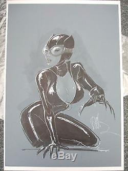 Catwoman Hand Art Sketch Commission Joe Benitez Gray-tone