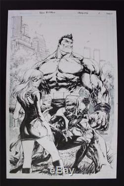 Champions #1 Variant COVER (Original Art) 2016 Tyler Kirkham! Hulk Spider-Man