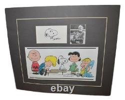 Charles Schulz Peanuts Personally Signed Snoopy Doodle Art Sketch Mounted Matted