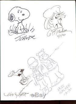 Charles Schulz+garry Trudeau+walker+johnny Hart Original Art In Book Jsa Letter