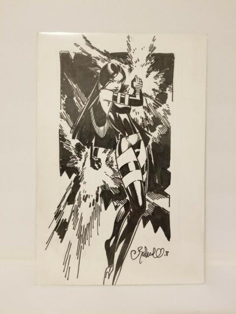 Chris Bachalo Original Sketch Art Psylocke On Comic Book Backing Board