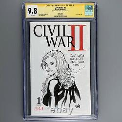 Civil War II #1 CGC SS 9.8 SIGNED SKETCH Black Cat Original Art FRANK CHO NM/MT