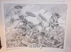 Conan and Red Sonja in Battle Pencil Piece LA Signed art by Sanjulian