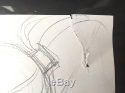 Dessin Original MARINI AU CRAYON HEROINE AUX SEINS NUS 21 29 CM
