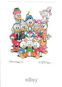 Disney Don Rosa Art Original HAND DRAWN & SIGNED Donald Duck & Scrooge Family