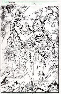 EXILES Annual 3 Original Comic Cover Art TOM RANEY SCOTT HANNA X-men Blink Xmen