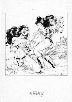 Ed Benes Original Comic Art Wonder Woman From A DC Vs. Card Set 2005-2006