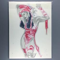 Elektra ORIGINAL ART Commission Sketch COLORED & SIGNED by ADAM HUGHES 9x12 SDCC