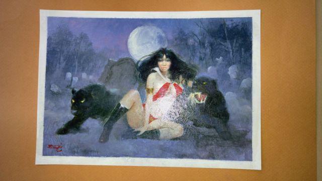 Enric Torres Prat Signed Vampirella With 2 Black Panthers Painting 8.5x6