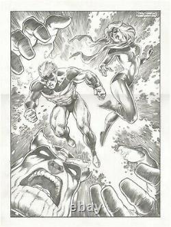 FRANK BRUNNER Thanos Captain Marvel Ms Marvel 15 x 20 ORIGINAL ART