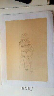 FRANK FRAZETTA 1950s LIFE DRAWING OF ELLIE SITTING SIGNED BEAUTIFUL WITH COA