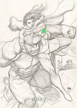Frank Cho She-Hulk Vs Rhino Original Art