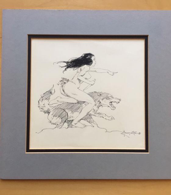 Frank Frazetta Original Art Girl With Wolf Published