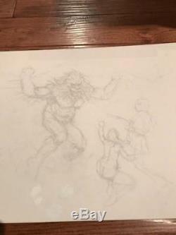 Frank Frazetta Original Pencil Sketch
