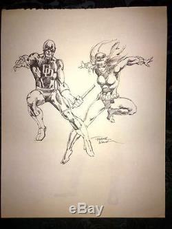 Frank Miller Signed Original Sketch 11 x 14 Daredevil + Black Widow circa 1981