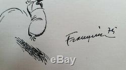 Franquin Gaston & Jeanne Dessin Original signé Encre de Chine 1975 + dédicace