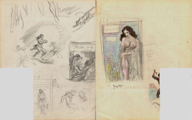 Frazetta, Frank Brooklyn Dreams Painting Prelim Original Art (1962) Tarzan