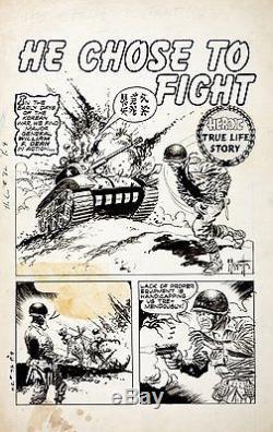 Frazetta, Frank HEROIC COMICS 72 TITLE SPLASH PG 1 Large Original Art (1952)